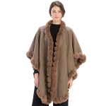 CP9922 Solid Twisted Fur Trimmed Cape Shawl, Taupe