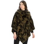 CP9924 Camouflage Print Faux Fur Collar Poncho