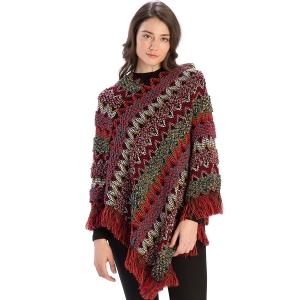 CP9926 Multi Zig-Zag Knitted Poncho, Burgundy