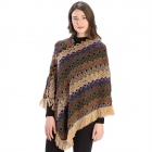 CP9926 Multi Zig-Zag Knitted Poncho, Taupe