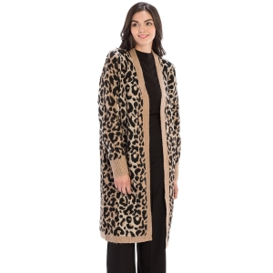 CP9927 Leopard Print Long Sleeve Cardigan, Brown