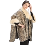 CP9928 Faux Fur Trimmed Animal Print Ruana Cape, Ivory