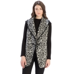 CP9929 Leopard Print Vest With Toggle Hook, Black