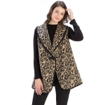 CP9929 Leopard Print Vest With Toggle Hook, Taupe