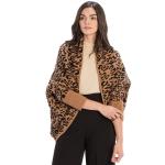 CP9934 Leopard Print Long Sleeve Shrug, Camel