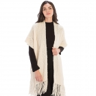 CP9935 Solid Color Knitted Kaftan With Tassels, Beige