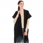 CP9935 Solid Color Knitted Kaftan With Tassels, Black