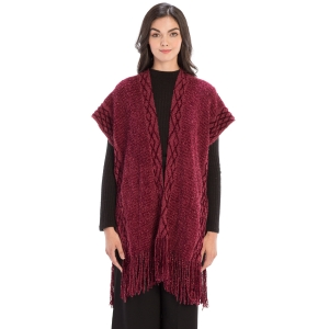 CP9935 Solid Color Knitted Kaftan With Tassels, Burgundy