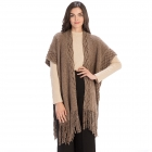 CP9935 Solid Color Knitted Kaftan With Tassels, Taupe