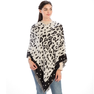CP9936 Leopard Pattern with Dots Trimmed Poncho, Black