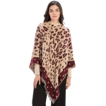 CP9936 Leopard Pattern with Dots Trimmed Poncho, Burgundy