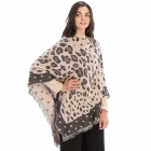 CP9936 Leopard Pattern with Dots Trimmed Poncho, Pink