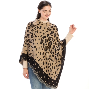 CP9936 Leopard Pattern with Dots Trimmed Poncho,Taupe