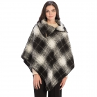 CP9937 Plaid Design Poncho with Buckle Accent, Black