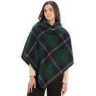 CP9937 Plaid Design Poncho with Buckle Accent, Green
