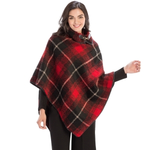 CP9937 Plaid Design Poncho with Buckle Accent, Red
