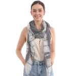 CS0003 Tie-dye Pattern Oblong Scarf, Black