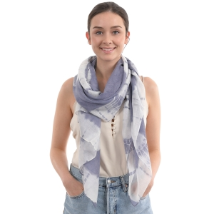 CS0003 Tie-dye Pattern Oblong Scarf, Blue