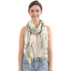 CS0004 Multi Tropical Leaf Pattern Scarf, Green