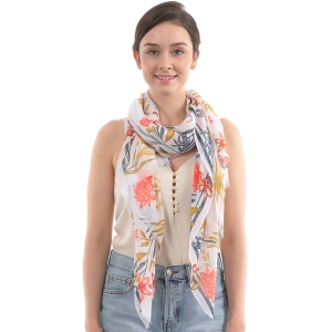 CS0004 Multi Tropical Leaf Pattern Scarf, Navy
