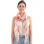 CS0004 Multi Tropical Leaf Pattern Scarf, Peach