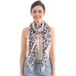 CS0005 Leopard Pattern Lightweight Scarf, Black