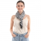 CS0007 Pleated Leopard Pattern Scarf, Black