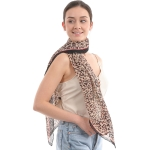 CS0007 Pleated Leopard Pattern Scarf, Taupe