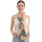 CS0009 Plaid Pattern Pleated Scarf, Beige