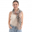 CS0009 Plaid Pattern Pleated Scarf, Grey