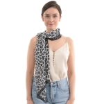 CS0010 Chiffon Animal Pattern Scarf, Black
