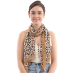 CS0010 Chiffon Animal Pattern Scarf, Brown