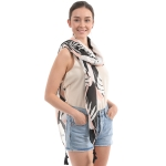 CS0013 Tropical Leaf Pattern Sarong Scarf w/Tassel