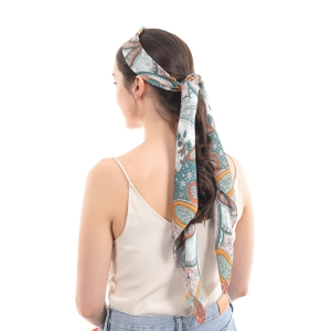 CS0025 Multi Color Paisley Print Headband & Hair Scrunchies Scarf