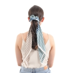 CS0029 Multi Color Stripes Pattern Scrunch & Scarf, Mint