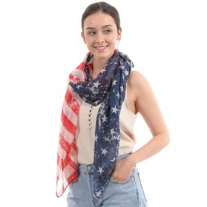 CS0030 American Flag Print Oblong Scarf