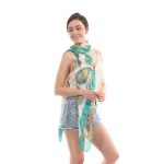 CS0032 Bright Paisley Pattern Silky Scarf, Green