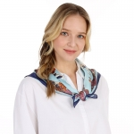 CS0041 Multi Chains Pattern Silky Square Scarf - Blue