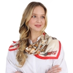 CS0041 Multi Chains Pattern Silky Square Scarf - Red