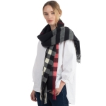 CS0141 Soft Texture Plaid Pattern Scarf, Black