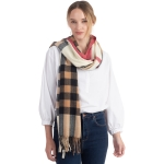 CS0141 Soft Texture Plaid Pattern Scarf, Ivory