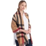 CS0141 Soft Texture Plaid Pattern Scarf, Taupe