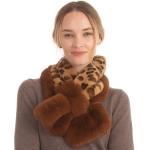 CS0144 Faux Fur Leopard Pattern Slit Scarf, Brown