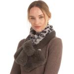 CS0144 Faux Fur Leopard Pattern Slit Scarf, Grey