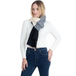 CS0147 Tri-Tone Knitted Winter Scarf, Black