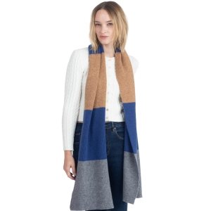 CS0147 Tri-Tone Knitted Winter Scarf, Blue