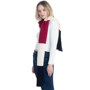 CS0147 Tri-Tone Knitted Winter Scarf, Burgundy