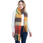 CS0148 Multi Color Blocks Pattern Oversized Scarf, Orange