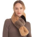 CS0149 Tri-tone Slit Faux Fur Scarf, Taupe