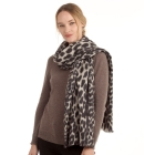 CS0150 Soft Texture Leopard Pattern Scarf, Black